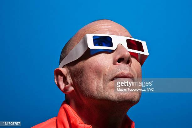 Portrait of man wearing 3D goggles