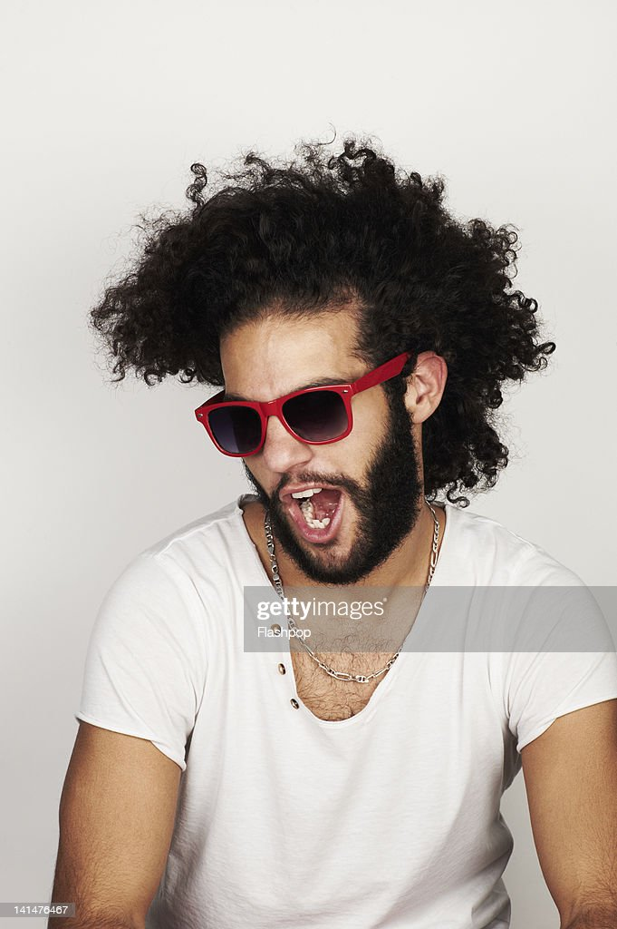 Portrait of man wearing sunglasses : Stock Photo