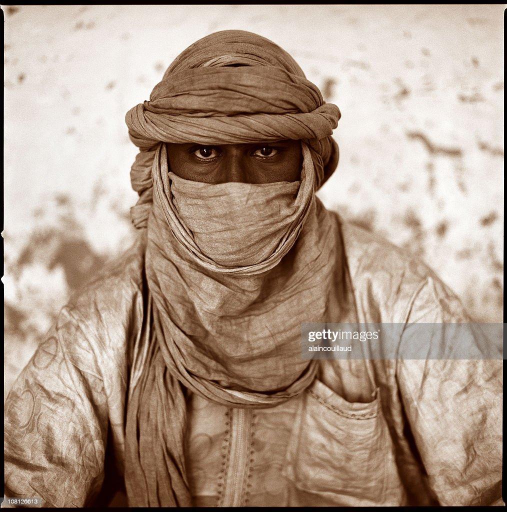 Portrait of Man Wearing Tuareg, Sepia Toned