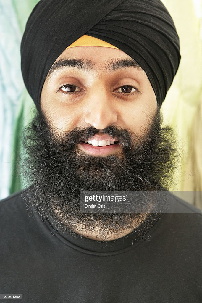 Portrait of man wearing turban : Stock Photo