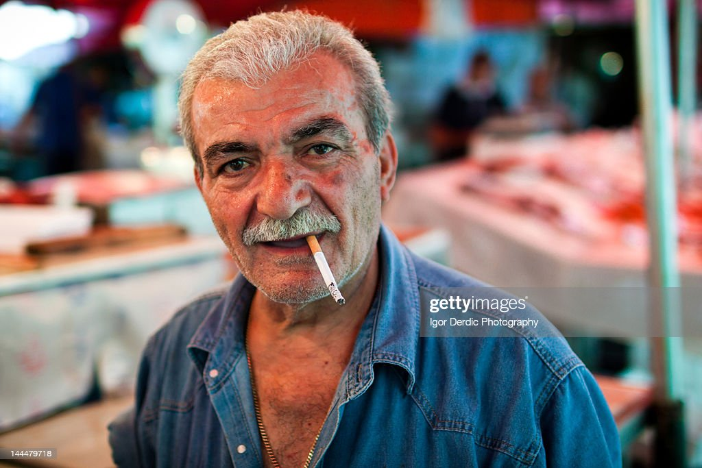 Portrait of man with cigarette : Stock Photo