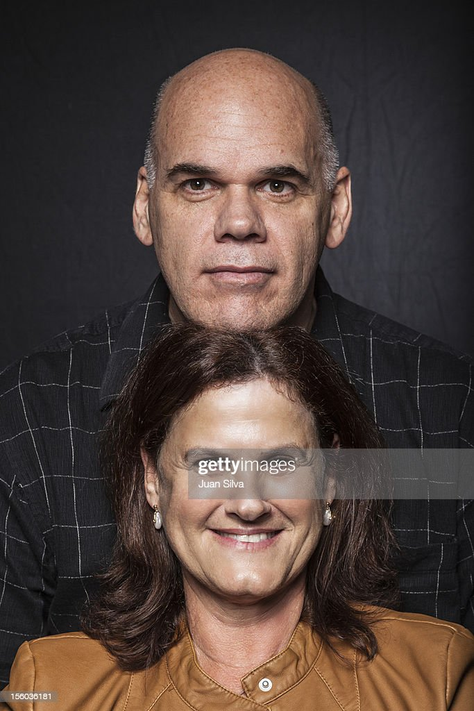 Portrait of man with head on top of woman : Stock Photo