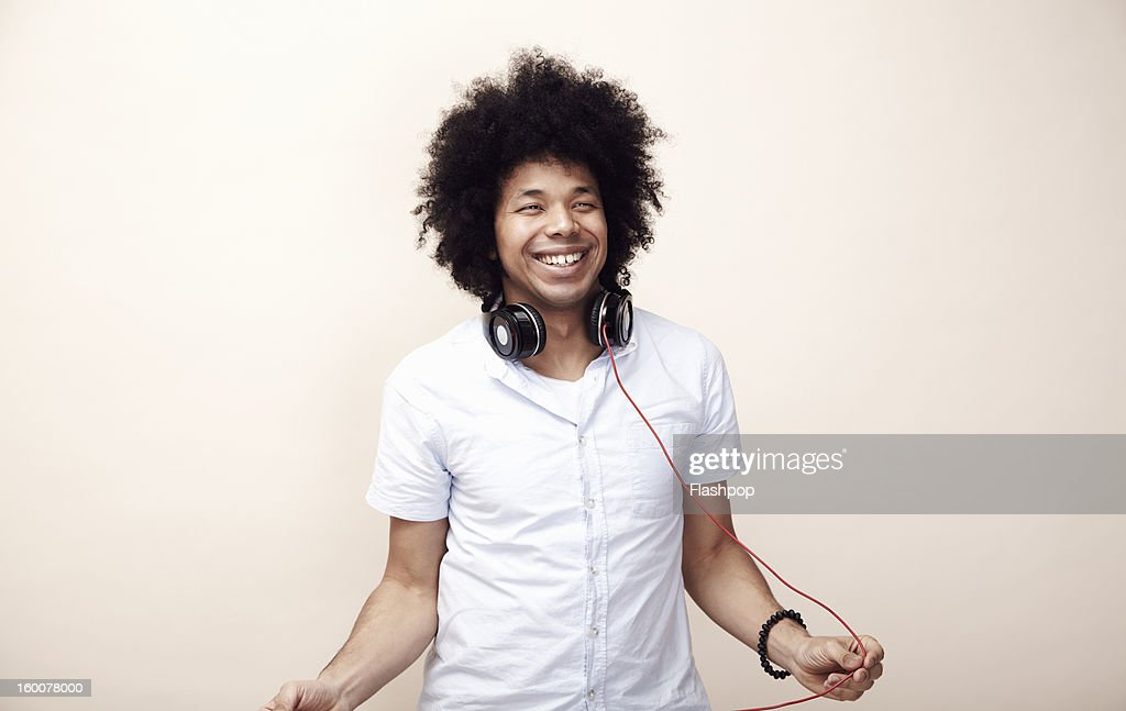 Portrait of man with headphones : Stock Photo