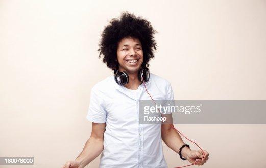 Portrait of man with headphones : Bildbanksbilder
