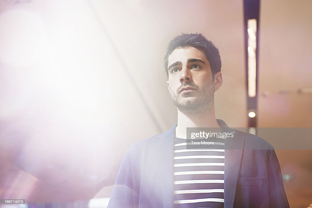portrait of man with lighting flare : Stock Photo