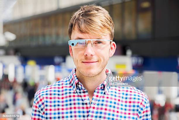 Portrait of man with Smart-Glass.