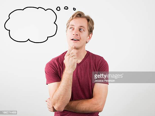 Portrait of man with speech bubble near his head