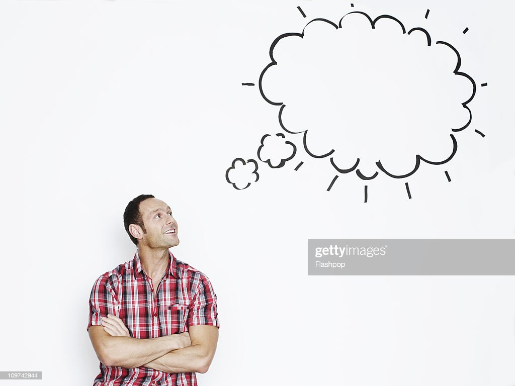 Portrait of man with thought bubble : Stock Photo