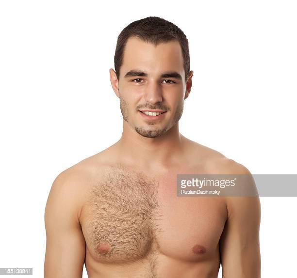 Porträt eines Mannes mit Wachs auf der Brust.