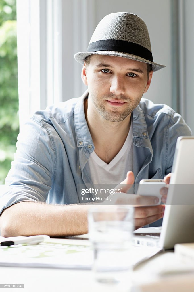 Portrait of man working from home : Foto stock