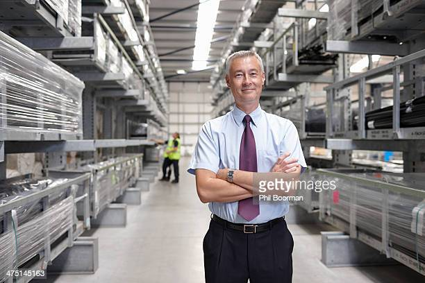 Portrait of manager in engineering warehouse