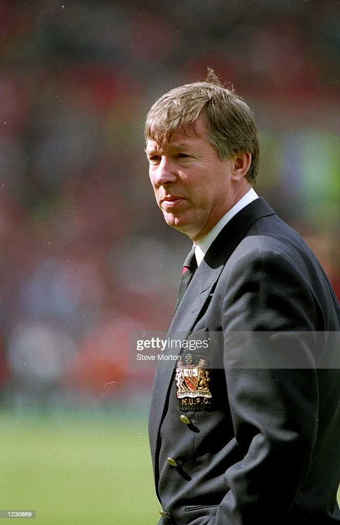Portrait of Manchester United Manager <a gi-track='captionPersonalityLinkClicked' href=/galleries/search?phrase=Alex+Ferguson&family=editorial&specificpeople=203067 ng-click='$event.stopPropagation()'>Alex Ferguson</a> during a match. \ Mandatory Credit: Steve Morton/Allsport