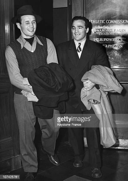 Portrait Of Marcel Cerdan And Georgie Abrams At New York In Usa On December 6Th 1946
