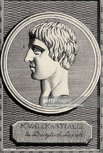 Portrait of Marco Valerio Marziale epigrammatist poet Engraving