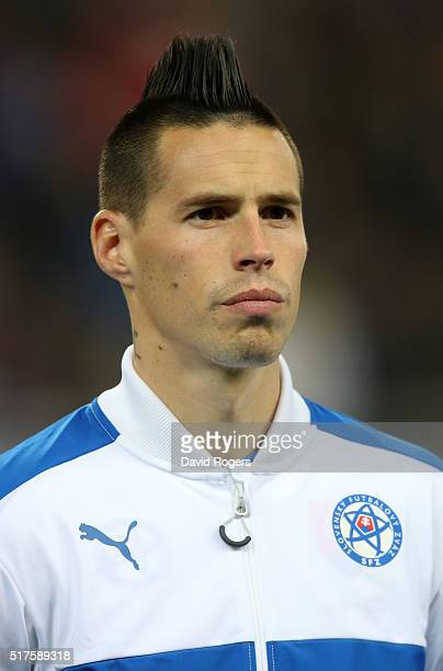 A portrait of Marek Hamsik of Slovakia during the international friendly match between Slovakia and Latvia held at Stadion Antona Malatinskeho on...