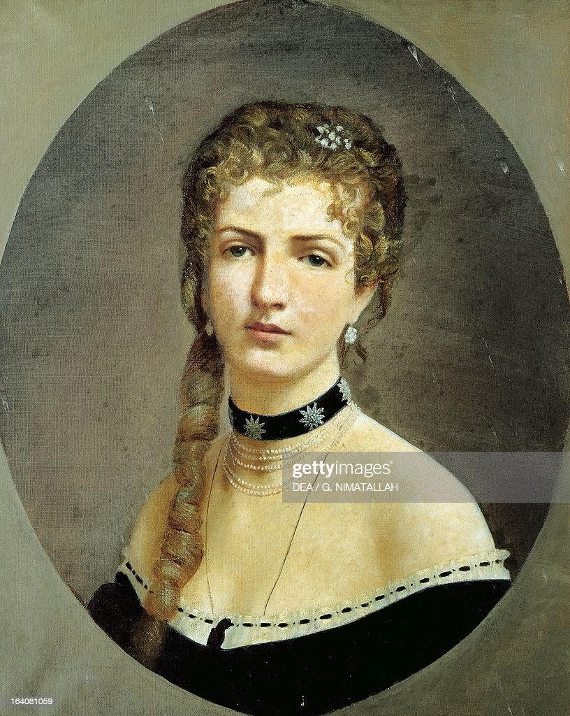 Portrait of Margherita of Savoy (Turin, 1851-Bordighera, 1926), queen consort of King Umberto I (1844-1900), King of Italy, painting by an unknown artist. Florence, Palazzo Pitti (Pitti Palace) Galleria D'Arte Moderna