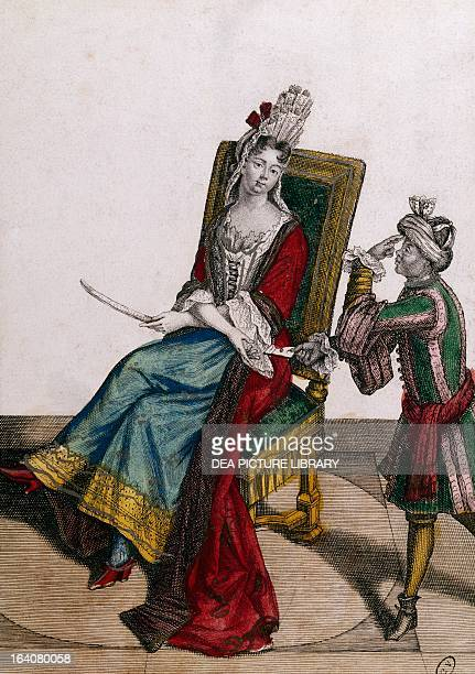 Portrait of Marie Anne Mancini Duchess de Bouillon Mazarinette and wife of Godefroy Maurice de La Tour d'Auvergne Engraving 17th century Paris...