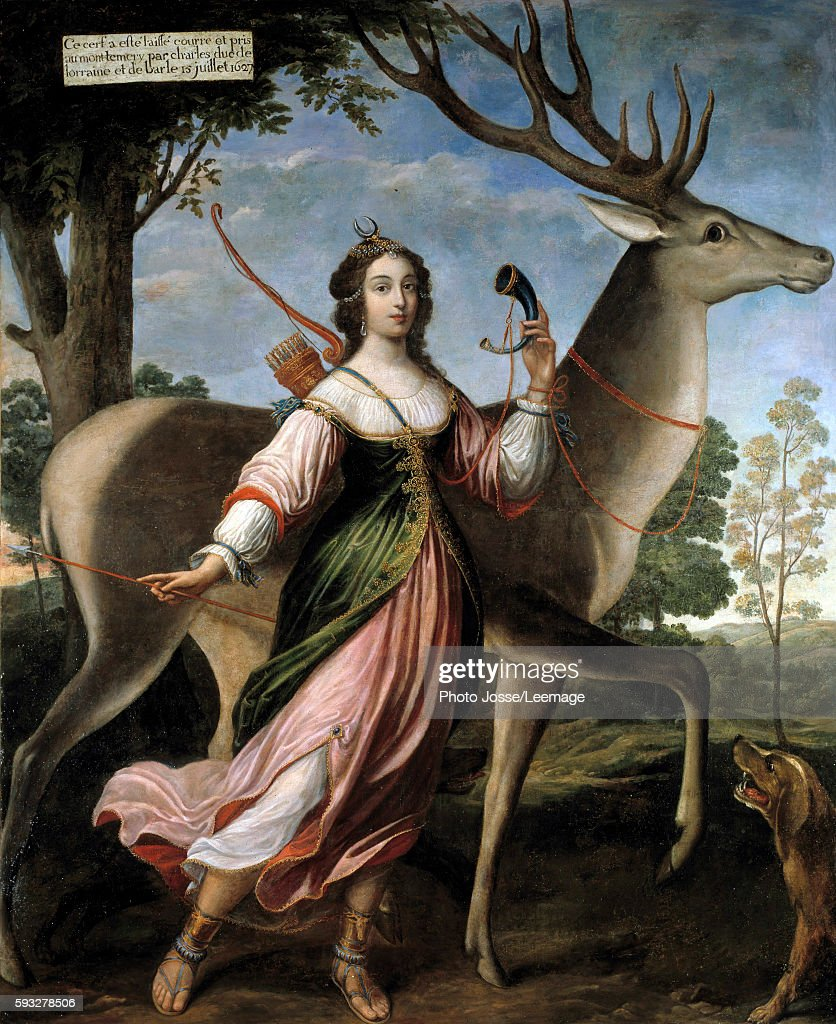 Portrait of Marie de RohanMontbazon Duchess of Luynes and then of Chevreuse The young woman is represented as Diana the Huntress with a deer Painting...