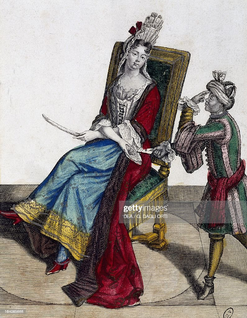 Portrait of MarieAnne Mancini Duchess of Bouillon Colored engraving by Nicolas Arnoult Paris Bibliothèque Des Arts Decoratifs