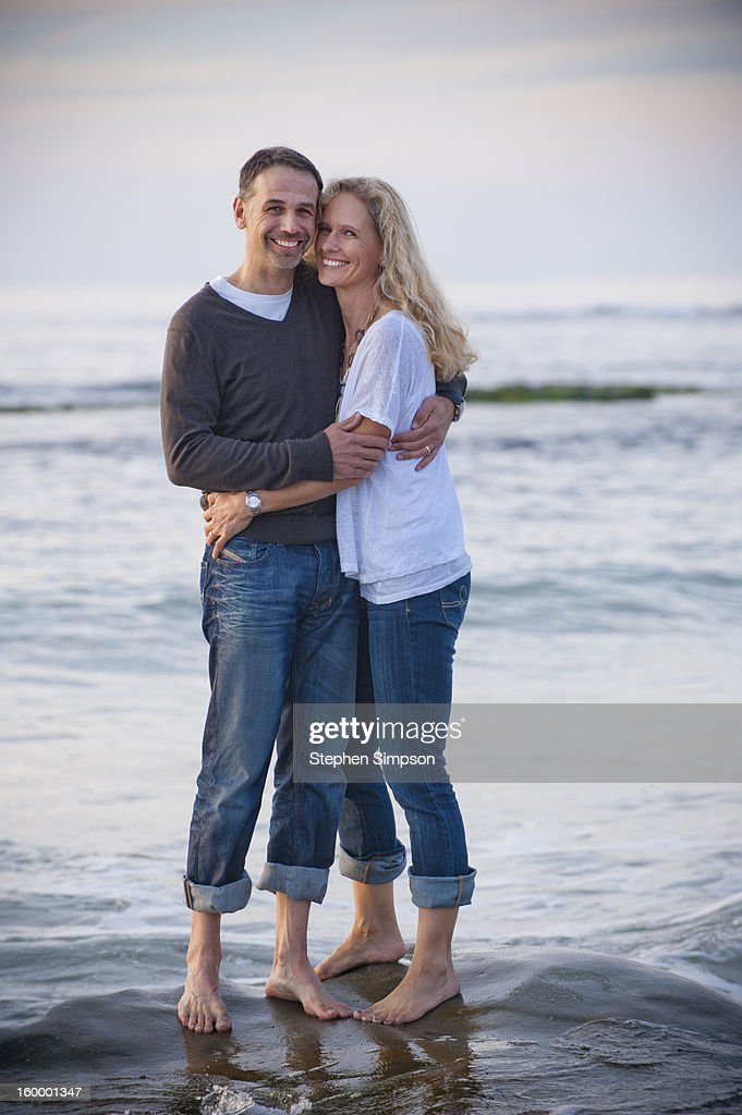 portrait of married couple at the beach : Stock Photo