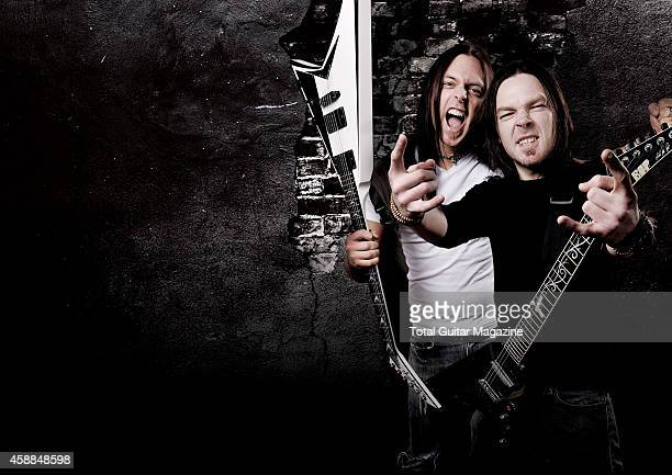 This image has been digitally manipulated Portrait of Matt Tuck and Michael Paget of British heavy metal group Bullet For My Valentine taken on April...