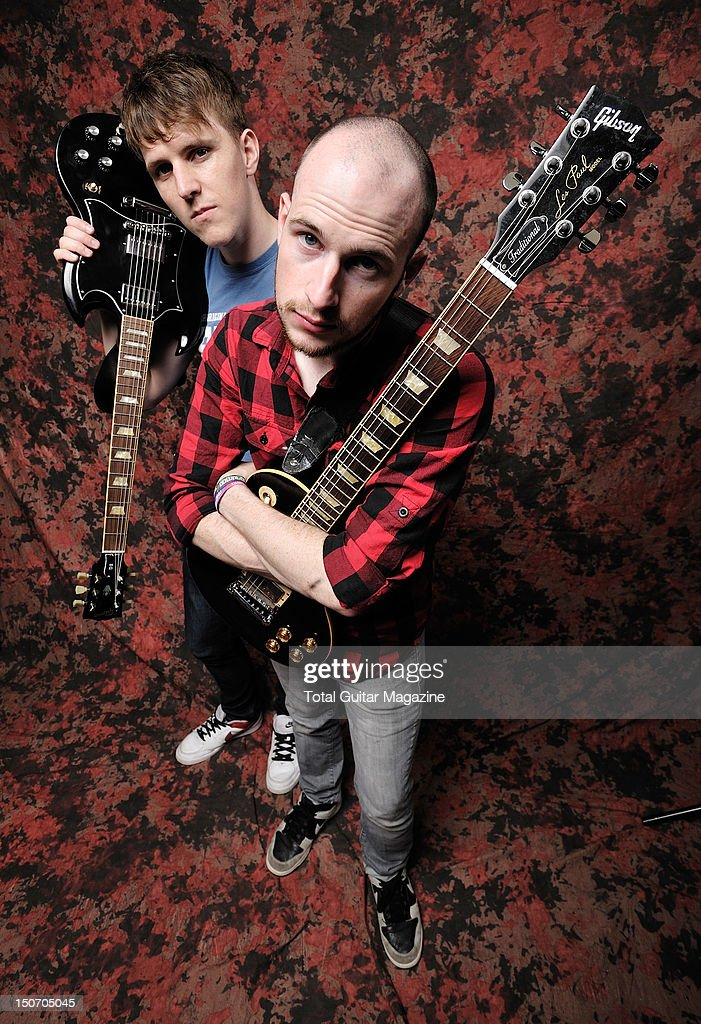 Portrait of Matthew Davies (L) and <a gi-track='captionPersonalityLinkClicked' href=/galleries/search?phrase=James+Davies&family=editorial&specificpeople=224593 ng-click='$event.stopPropagation()'>James Davies</a>, guitarists with Welsh alternative rock group The Blackout, taken backstage at Download Festival on June 15, 2009.