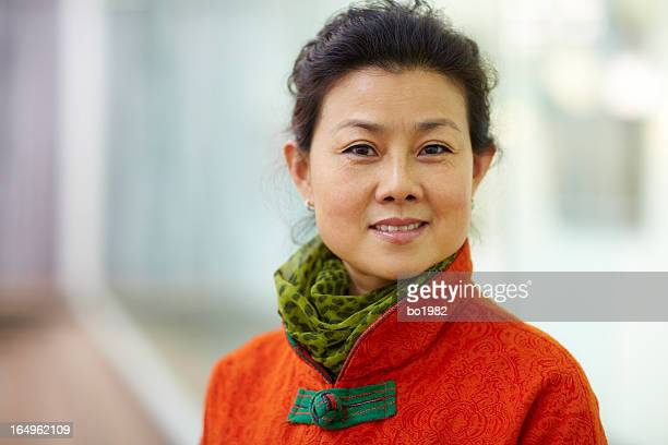portrait of mature Chinese woman indoor