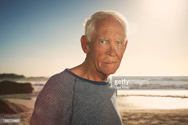 Portrait of mature man at sunset
