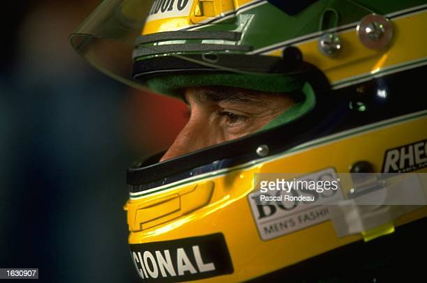 Portrait of McLaren Honda driver Ayrton Senna of Brazil before the San Marino Grand Prix at the Imola ciruit in San Marino Senna finished in first...