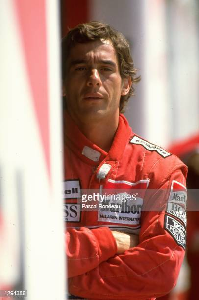 Portrait of McLaren Honda driver Ayrton Senna of Brazil during Formula One testing at the Imola circuit in San Marino Mandatory Credit Pascal...
