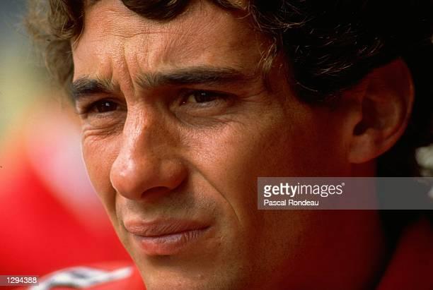 Portrait of McLaren Honda driver Ayrton Senna of Brazil during Formula One testing at the Imola circuit in San Marino Mandatory Credit Pascal...