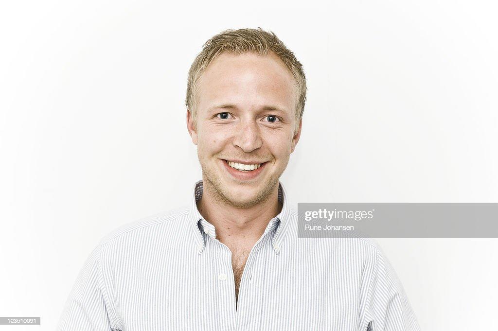 Portrait of member of Secret society smiling, Denmark : Stock Photo