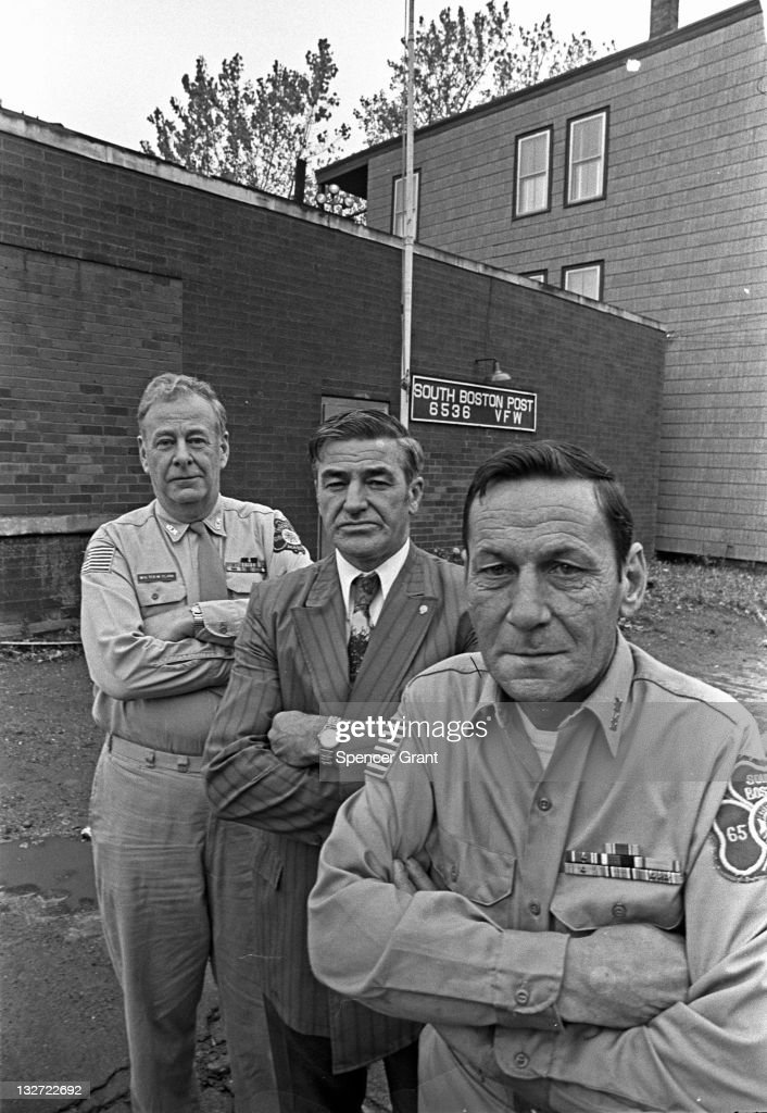 Portrait of members of the American Legion South Boston post number 6536 showing a resolute and determined appearance Boston 1971