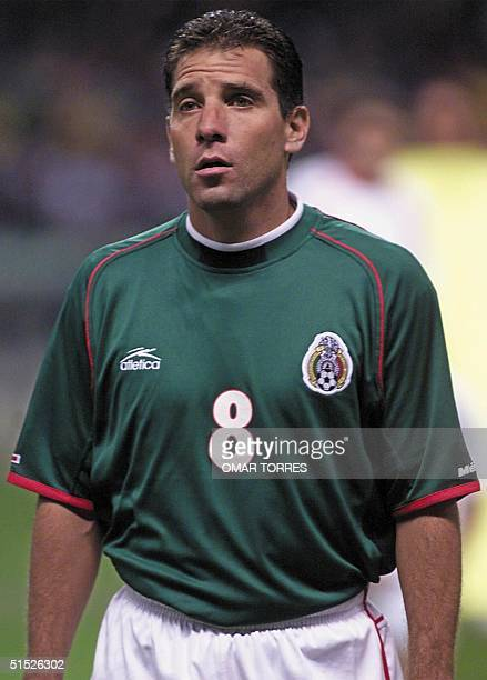 Portrait of Mexican national soccer team midfielder Alberto Garcia Aspe taken 05 September 2001 at the Azteca stadium in Mexico City before the start...