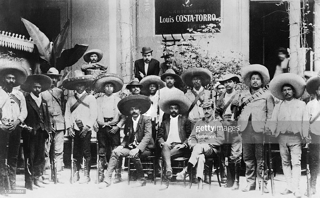Portrait of Mexican revolutionary <a gi-track='captionPersonalityLinkClicked' href=/galleries/search?phrase=Emiliano+Zapata&family=editorial&specificpeople=743817 ng-click='$event.stopPropagation()'>Emiliano Zapata</a> (C) and his men. Photograph, 1914. BPA2# 5732