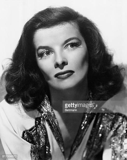 Portrait of MGM film actor Katharine Hepburn wearing a sequined dress Undated publicity photo