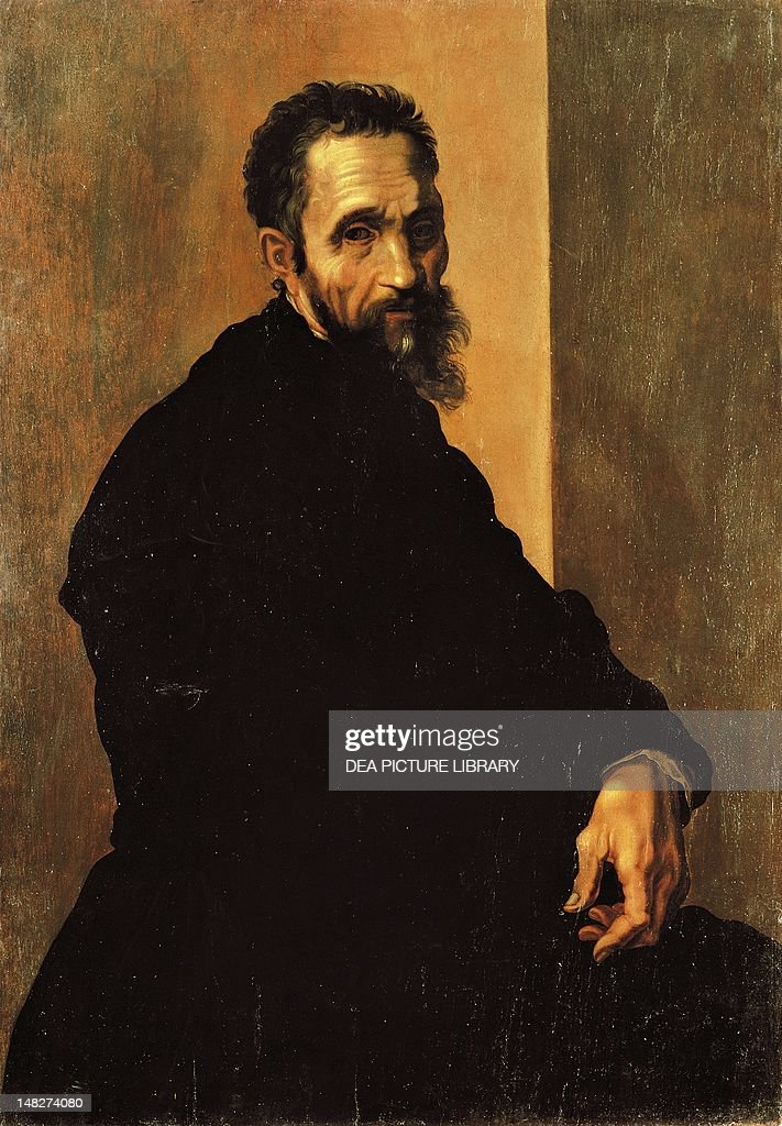 Portrait of <a gi-track='captionPersonalityLinkClicked' href=/galleries/search?phrase=Michelangelo+-+Artist&family=editorial&specificpeople=116061 ng-click='$event.stopPropagation()'>Michelangelo</a>, ca 1535, by Jacopino del Conte (1510-1598). (Photo by DeAgostini/Getty Images); .