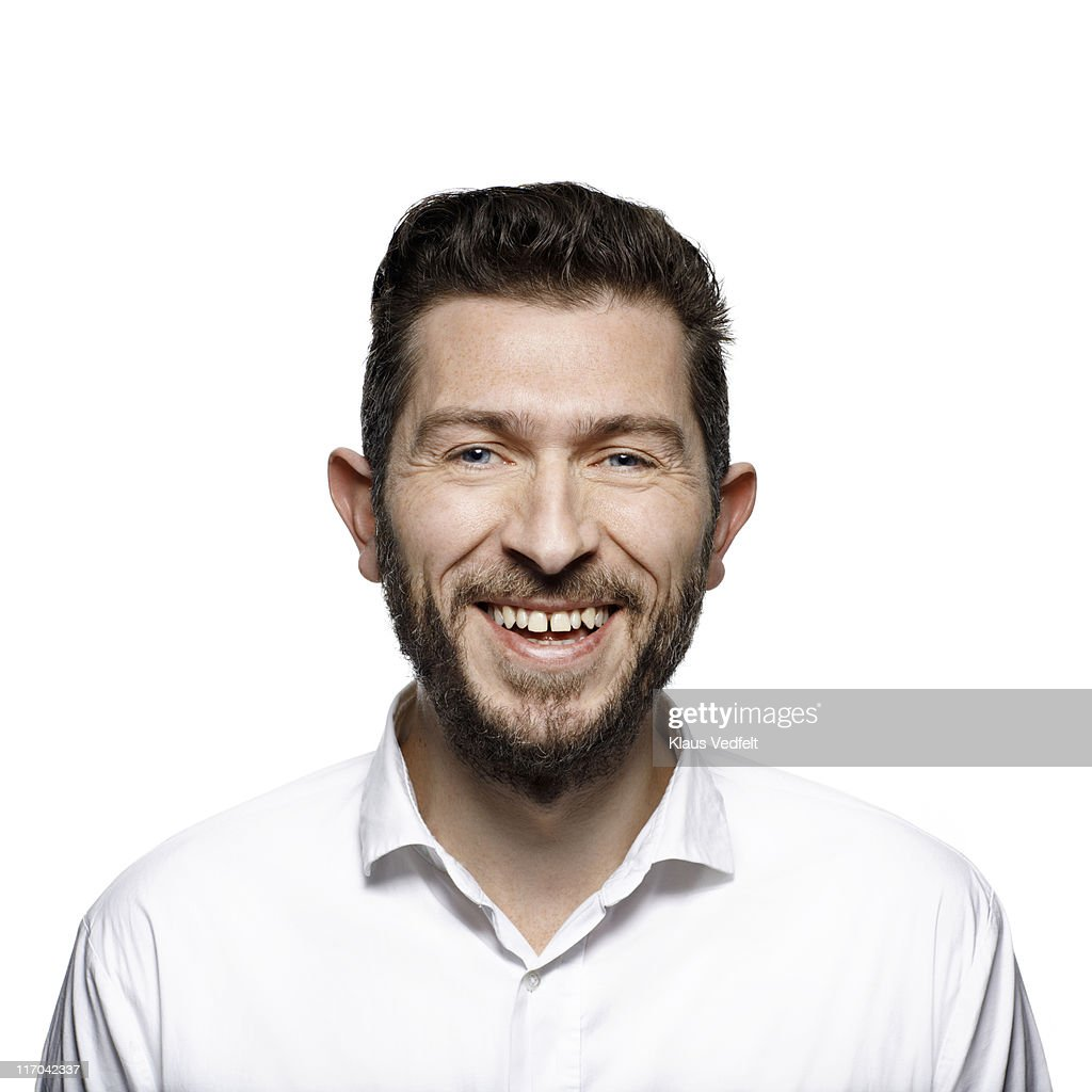 Portrait of middle aged man laughing : Stock Photo