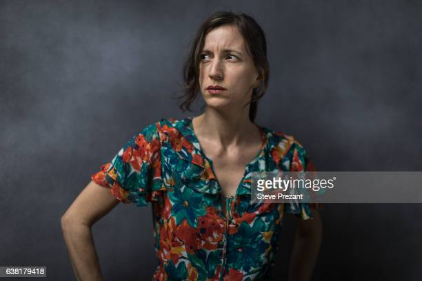 portrait of middle aged woman looking away