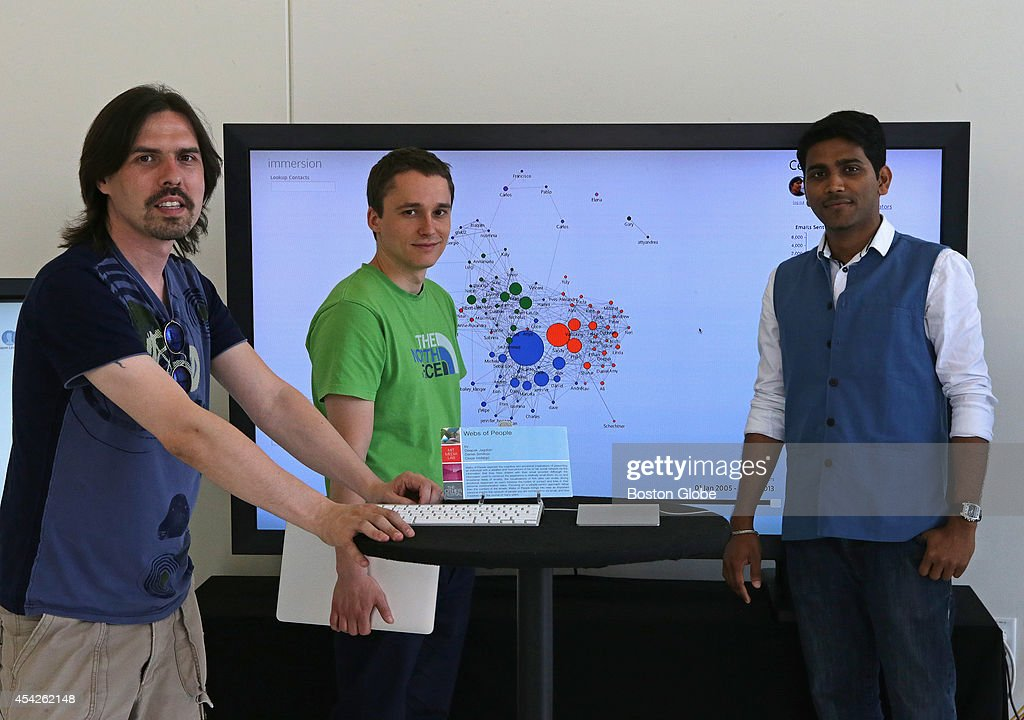 Portrait of MIT Media Lab's Cesar Hidalgo, who with Daniel Smilkov, center, and Deepak Jagdish, at right, collaborated on creating a new interactive tool, 'Webs of People', for visualizing the network of people you know over email.