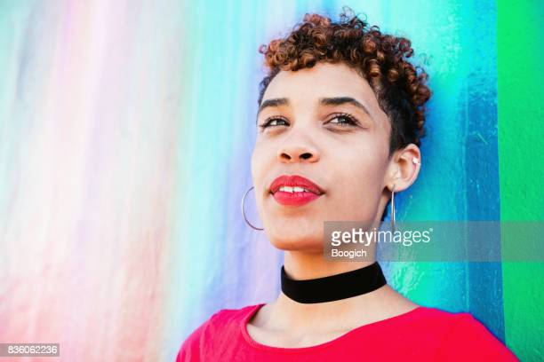 Portrait of Mixed Race Millennial Woman in Wynwood Miami