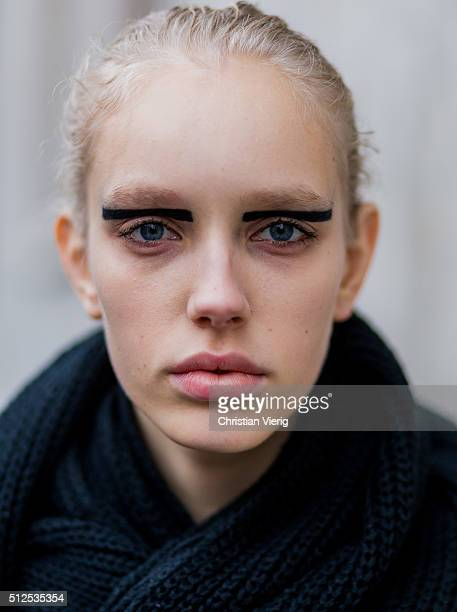 Portrait of model Jessie Bloemendaal with black stripe eye make up seen outside Iceberg during Milan Fashion Week Fall/Winter 2016/17 on February 26...