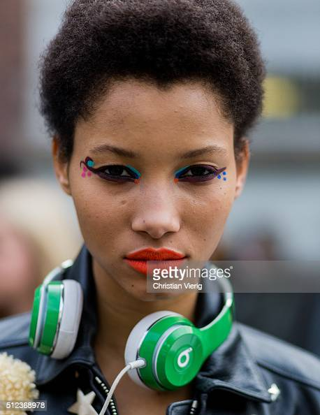 Portrait of model Lineisy Montero with colorful eye make up seen outside Fendi during Milan Fashion Week Fall/Winter 2016/17 on February 25 in Milan...