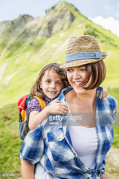 Portrait of mother and daughter smiling, Tyrol, Austria