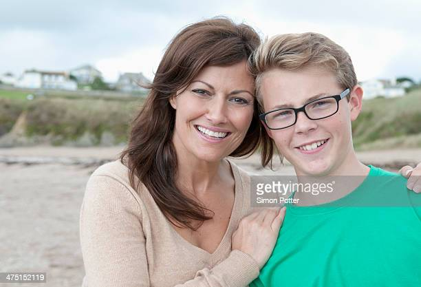 Portrait of mother and teenage son