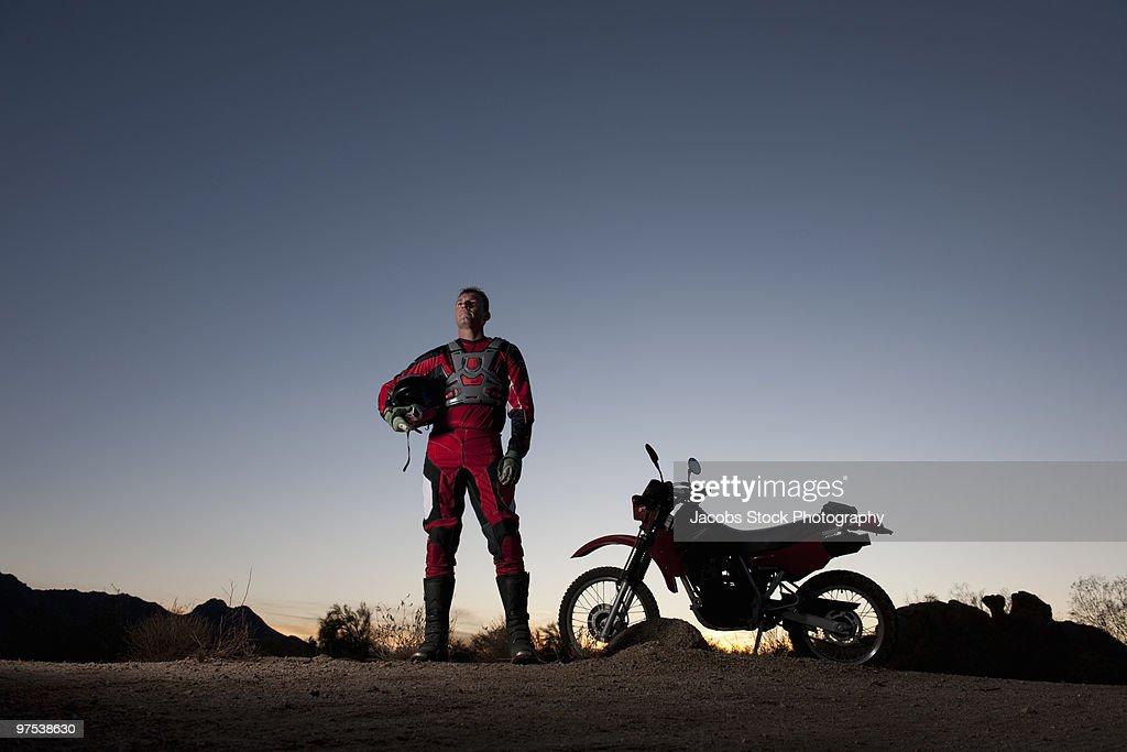 Portrait of Motocross Rider in Desert