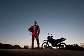 Portrait of Motocross Rider in Desert