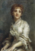 Portrait of Mrs Pisani Dossi by Daniele Ranzoni oil on canvas 60x85 cm