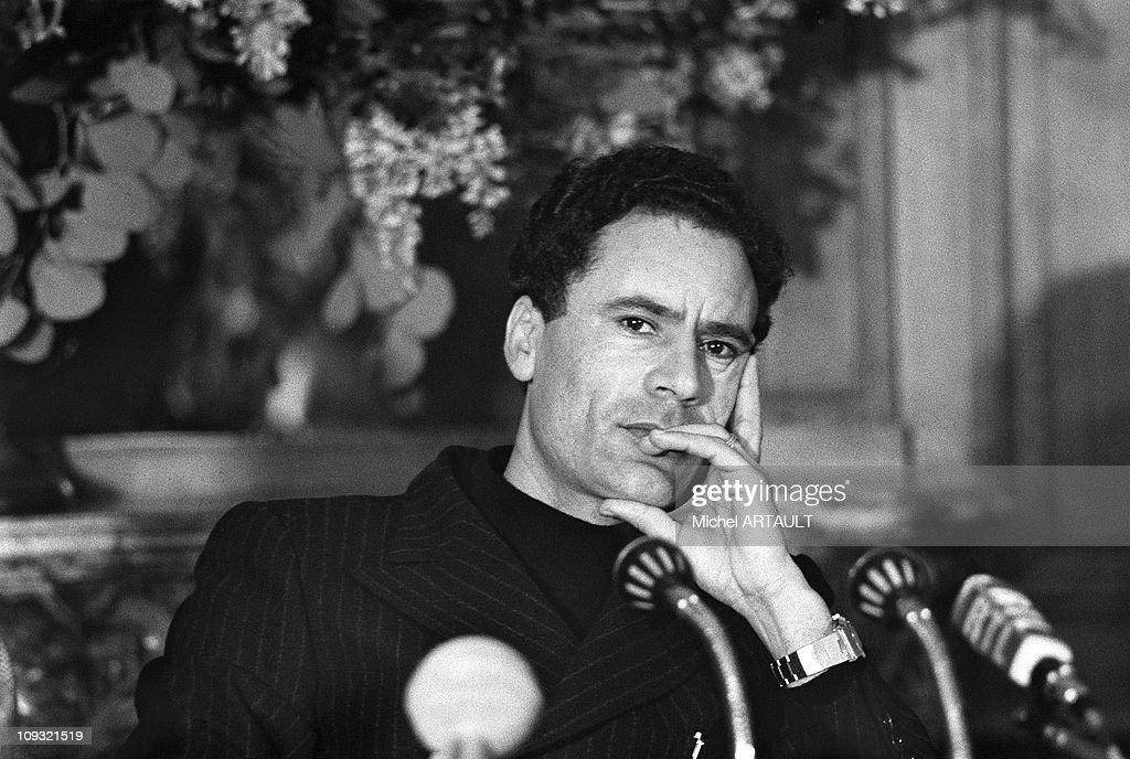 Portrait of Muammar Al Gaddafi At A Press Conference in Paris in 1973.