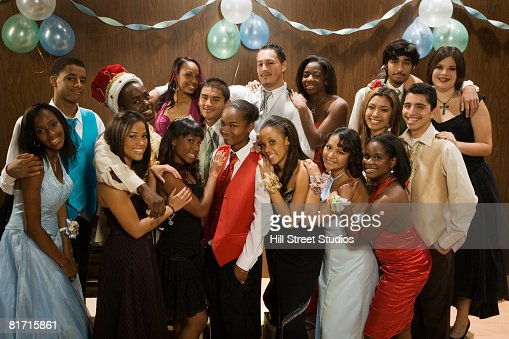 Portrait of multi-ethnic teenagers at prom
